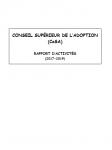 Conseil supérieur de l'Adoption (CoSA) - Rapport d'activités